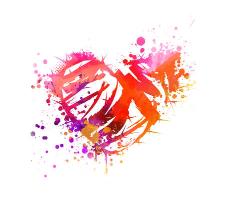 Illustration for Grunge watercolor painted heart with abstract roses. Pink and purple colored. - Royalty Free Image