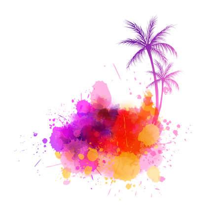 Illustration pour Abstract painted splash shape with palm tree silhouettes. Travel concept. - image libre de droit