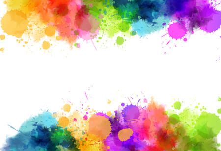 Illustration for Banner background with colorful watercolor imitation splash blots frame. Template for your designs. - Royalty Free Image