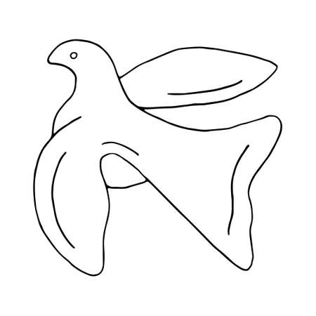 Illustration pour Flying bird dove of peace black line sketch on white background. Vector doodle illustration. Hand drawn element for greeting cards, posters, stickers. - image libre de droit