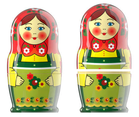 Russian dolls emotion of matryoshka green red