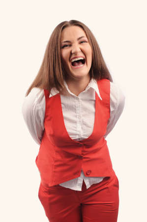 Funny woman in red jacket with different funny emotions