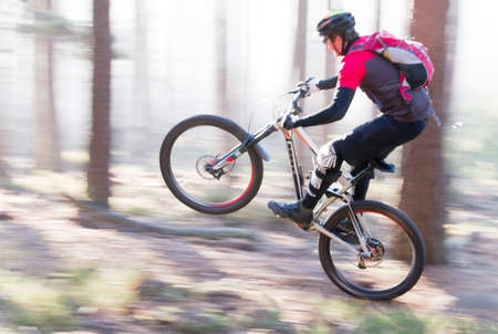 Photo pour Man riding a mountain bike in a forest on a sunny day with fog - motion blurred - image libre de droit