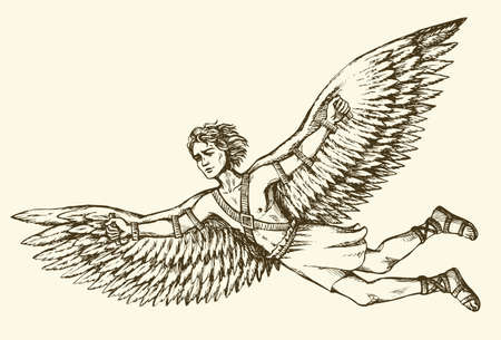 Illustration pour Greek Mythology character ICARUS is son of master craftsman DAEDALUS. Vector monochrome freehand ink drawn background sketchy in art scribble antiquity style pen on paper with space for text - image libre de droit