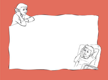 Illustration pour Vector frame with a contour drawing of two boys who communicate by telephone - image libre de droit