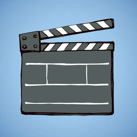 Illustration for Old open striped start flick take clapperboard device on blue sky backdrop. Dark ink hand drawn sketchy in antique artistic doodle graphic style pen on paper. Closeup view with space for text - Royalty Free Image
