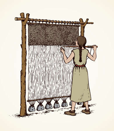 Illustration pour Young viking female in simple dress braid on archaic primitive knitting machine isolated on white backdrop. Freehand outline ink drawn picture sketch in retro art engraving style with space for text - image libre de droit