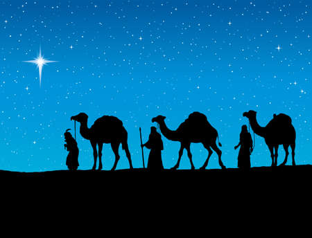 Illustration pour Three old orient Magi following east comet leading to new born holy baby Jesus Christ in Bethlehem present gifts gold, frankincense, myrrh. Dark black ink hand drawn backdrop card with space for text - image libre de droit
