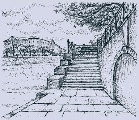 Vector cityscape. Architectural motif of old stone quay. Steps to the alley with a bench to rest