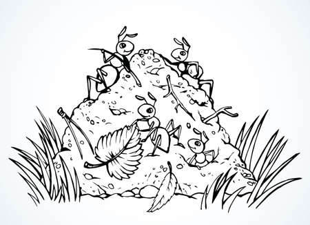 Illustration pour Big closeup funny red arachnid organic rookery dirt leg. Outline brown hand drawn dirty fun large formicary sign design. Comic vintage art print style. Close up detail macro view light text space - image libre de droit