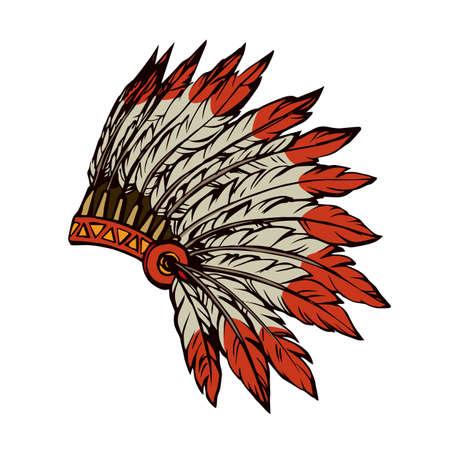 Illustration pour West navajo injun man chieftain adornment warbonnet on white background. rough festival bonnet. - image libre de droit