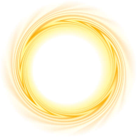 Illustration for Light ocher whirl ripple backdrop with space for text. Curl fluid surface bright hot amber color. Circle mix of pure sweet carrot, apricot, lemon dessert syrup as eddy caramel - Royalty Free Image