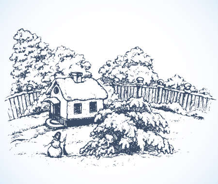 Illustration pour Cute cozy wooden chalet edifice isolated on light backdrop. Freehand outline black ink hand drawn picture sketchy in art retro doodle graphic style pen on paper. Scenic view with space for text on sky - image libre de droit