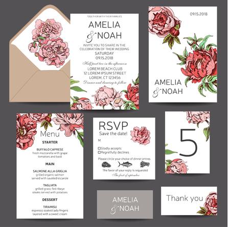 Illustration pour Vector illustration sketch - card with flowers chrysanthemum, peony. Wedding invitation with flower. Dahlias, Ruscus, Viburnum. - image libre de droit
