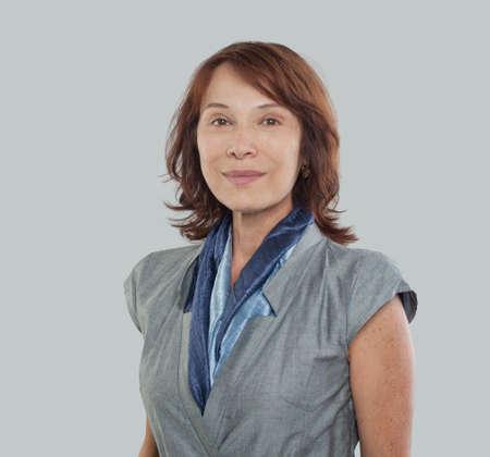 Photo pour Mature businesswoman on white background, portrait - image libre de droit