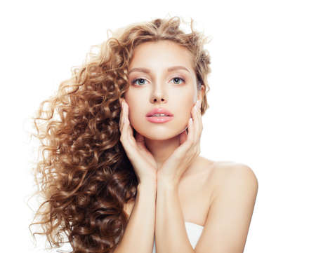 Photo pour Beautiful spa woman with healthy skin and perfect wavy hair isolated on white background, spa beauty, cosmetology, facial treatment and wellness concept - image libre de droit
