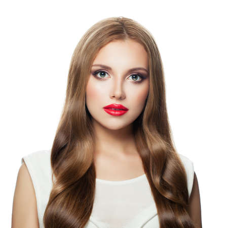Photo for Pretty model woman with long hair and red lips makeup isolated on white background - Royalty Free Image