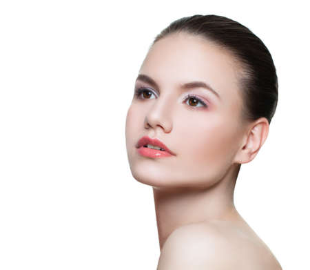 Photo pour Portrait of perfect young woman spa model with clear skin isolated on white - image libre de droit