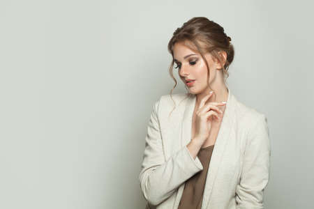 Photo for Fashion woman wearing white linen blazer on white background - Royalty Free Image