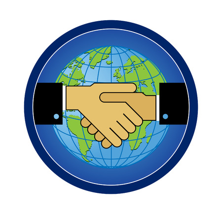 Symbol sign handshake of friendship, cooperation against the backdrop of the globe.