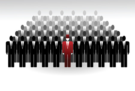 A group of people with a leader. Concept - an illustration