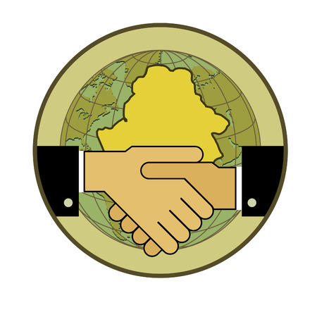 Symbol-concept. Handshake - two hands, and the contour of the Republic of Belarus