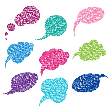 Illustration pour Set of color comic bubbles for speech. - image libre de droit