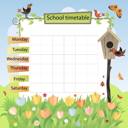 Illustration with the image of spring  Background to the training schedule