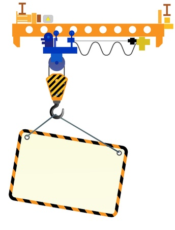 Illustration pour Image of crane beam with a hook and a place for text on a white background  - image libre de droit