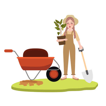 Woman girl gardening farming bring pot plant wearing hat cartoon character holding shovelのイラスト素材
