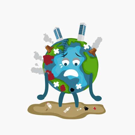 Earth globe sad sick tired of polution global warming deforestation full of dirty garbage environmental damage
