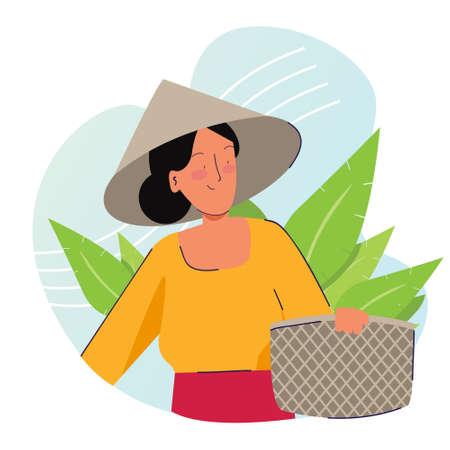 Illustration pour Woman farmer holding basket wearing cap in tobacco or tea leaf plantation harvesting. Traditional farming organic nature - image libre de droit