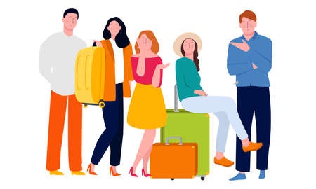 Illustration for friends travelling together pose carrying baggage tourist vacation. Vector illustration flat color - Royalty Free Image