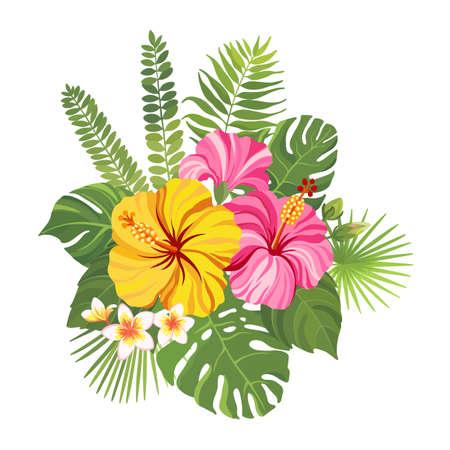 Illustration pour Tropical flowers bouquet. Floral composition with hibiscus, plumeria, palm leaves and monstera. Vector illustration. - image libre de droit