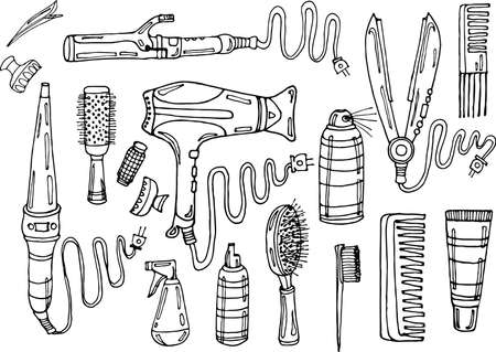 Set of hair styling: hair dryer, hair straightener, curling iron, comb, hairspray and other means