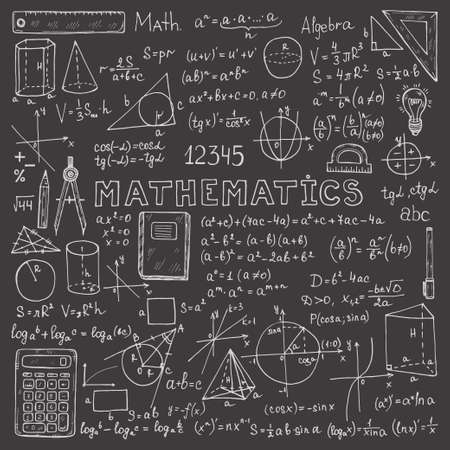 Illustration for Set with hand drawn mathematics formulas and other elements. Science collection. Vector doodle illustration - Royalty Free Image