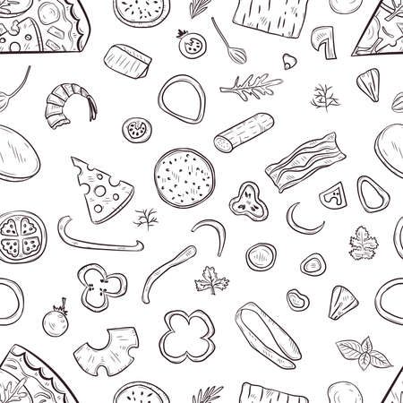Illustration pour Vector seamless pattern with hand drawn pizza and pizza igridients - image libre de droit
