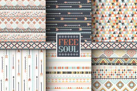 Set of 6 ethnic seamless patterns. Tribal geometric background. Stylish trendy fabric. Modern abstract wallpaper. Vector illustration.