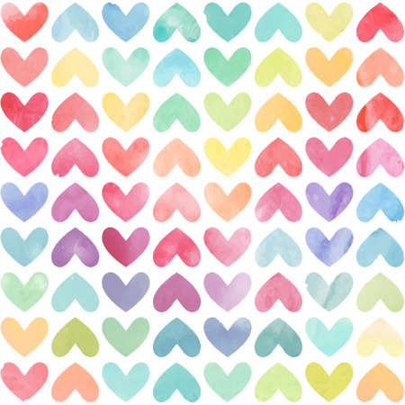 Ilustración de Seamless colorful watercolor painted hearts pattern. Valentine's day background. Vector illustration - Imagen libre de derechos