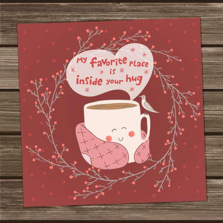 Holiday card with cute cup of tea in blanket and with seagull. Valentine's day edition. Pink and marsala colors. Vector illustration. My favorite place inside your hug
