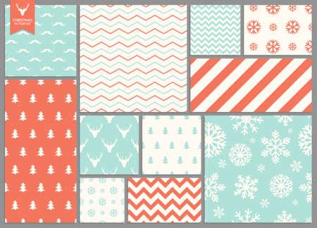Illustration pour Set of simple seamless retro Christmas patterns - image libre de droit