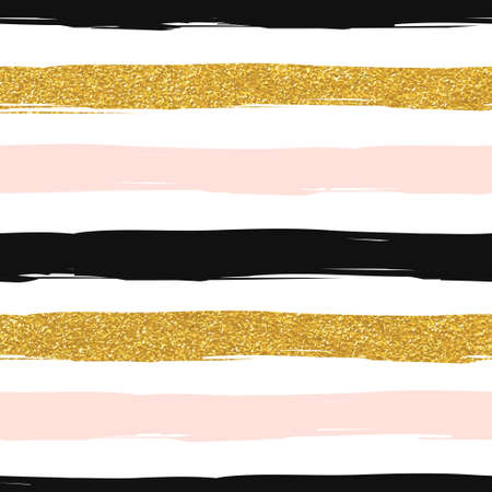 Seamless striped gold rose white and black modern vector pattern