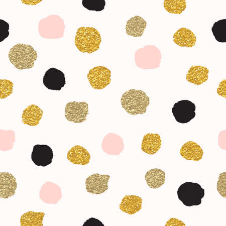 Illustration pour Vector seamless pattern with polka dots of rose gold and black. Gold dots, sparkles, shining dots. - image libre de droit