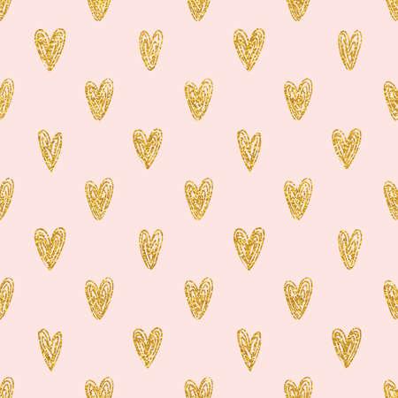 Illustration for Seamless polka dot gold hearts pattern - Royalty Free Image