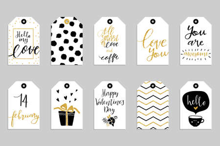 Ilustración de Collection of ten gold texture Valentine day cute ready-to-use gift tags. Set of 10 printable romantic hand drawn holiday label in black white and gold. Vector love badge design - Imagen libre de derechos