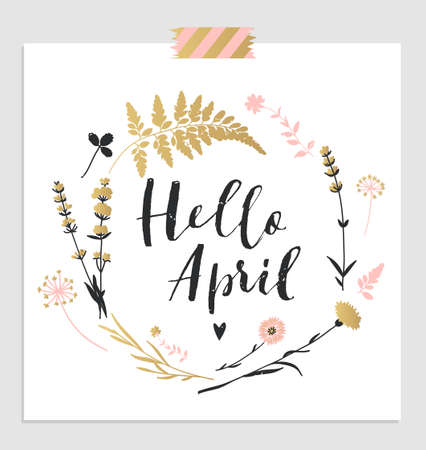 Cute spring floral card template Hello April. Perfect for invitation, scrapbooking, web, card, blog, sale, calendar cover, notes and many other. Vector illustration