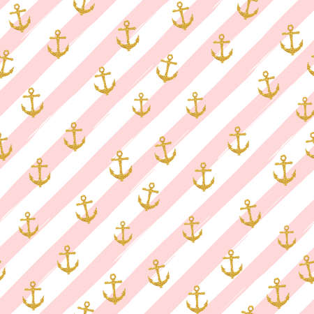 Ilustración de Pretty Summer seamless pattern template. Gold glitter confetti on striped background. Vector illustration. - Imagen libre de derechos