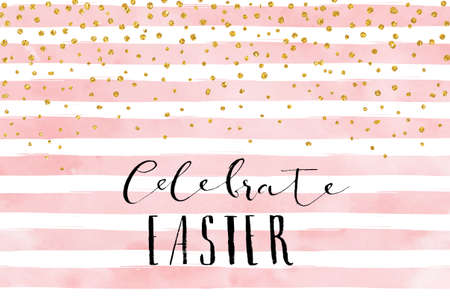Ilustración de Pretty Easter card template. Gold glitter confetti on striped watercolor background. Vector illustration. - Imagen libre de derechos