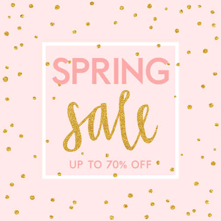 Illustration for Bright spring easter sale design with gold confetti. Vector design - Royalty Free Image