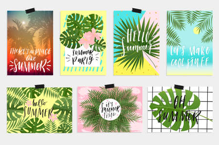 Summer Greeting Cards And Posters With Fun Elements Hand Drawn Lettering And Textures Great For Sale Banners Wallpaper Flyers Invitation Posters Brochure Voucher Discount Royalty Free Vector Graphics